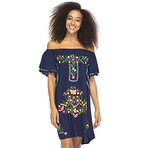 4390f10fb9b Back From Bali Womens Short Dress Off Shoulder Embroidery Tunic Mexican  Style