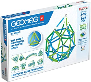 Geomag Classic - 142 Pieces- Magnetic Construction for Children - Green Collection - 100% Recycled Plastic Educational Toys