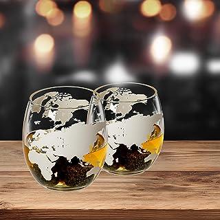 Lantelme Cognac Glas Whiskykaraffe mit Weltkugel Karaffe oder Gläser Set mit gravierter Weltkarte Whisky auch für Wein und Likör Gläser-Set