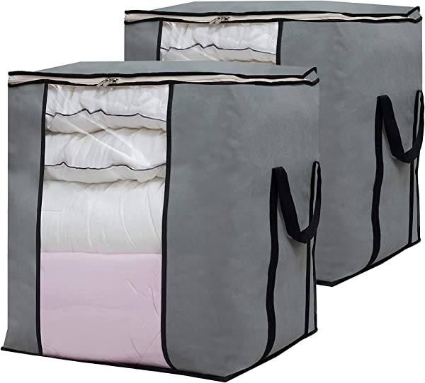 SLEEPING LAMB Oversized Storage Bags Foldable Closet Linen Bins Pillow Quilt Comforter Organizer For Bedroom Home Dorm College 2 Pack Gray