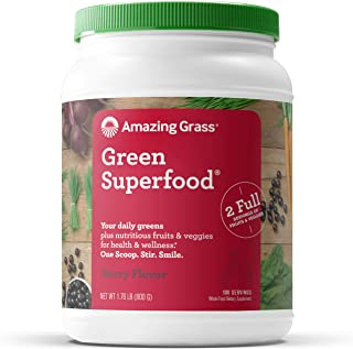 Amazing Grass Green Superfood: Super Greens Powder with Spirulina, Chlorella, Digestive Enzymes & Probiotics, Berry, 100 S...