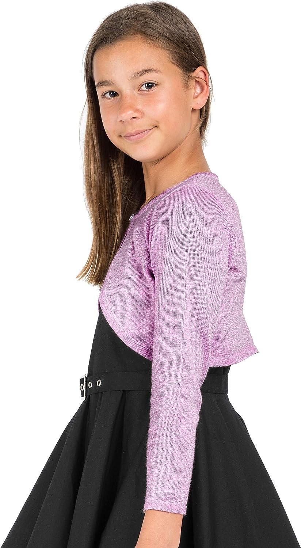 Bolerose Girls Long Sleeve Sparkle Cardigan Childrens Kids Bolero Shrug