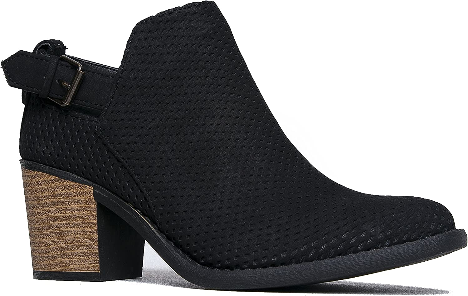 J. Adams Theo Ankle Boot - Perforated Buckle Slip On Stacked High Heel Bootie