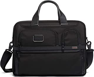Alpha 3 Expandable Organizer Laptop Brief Briefcase - 15 Inch Computer Bag for Men and Women - Black
