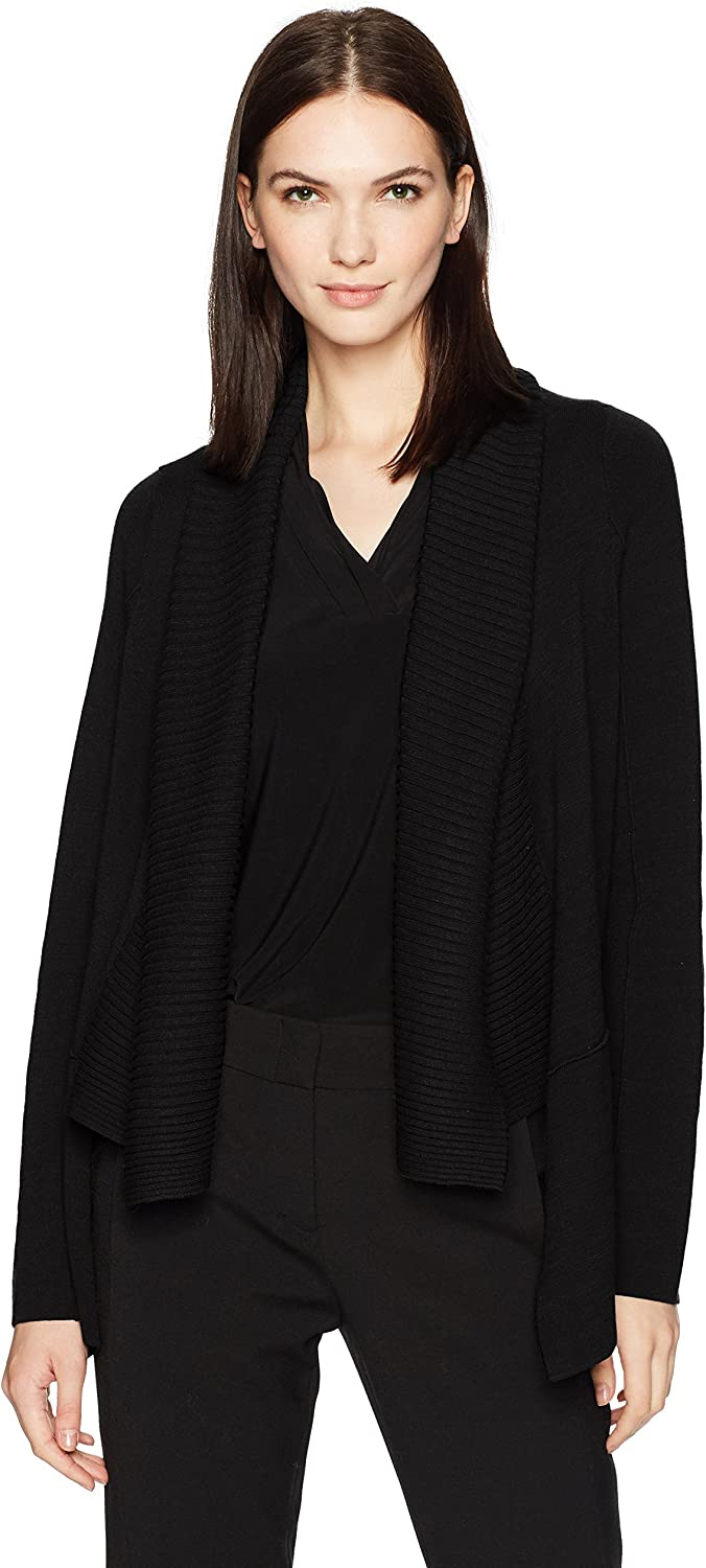 BCBGMAXAZRIA Women's Roman Knit Cardigan with Ribbed Front