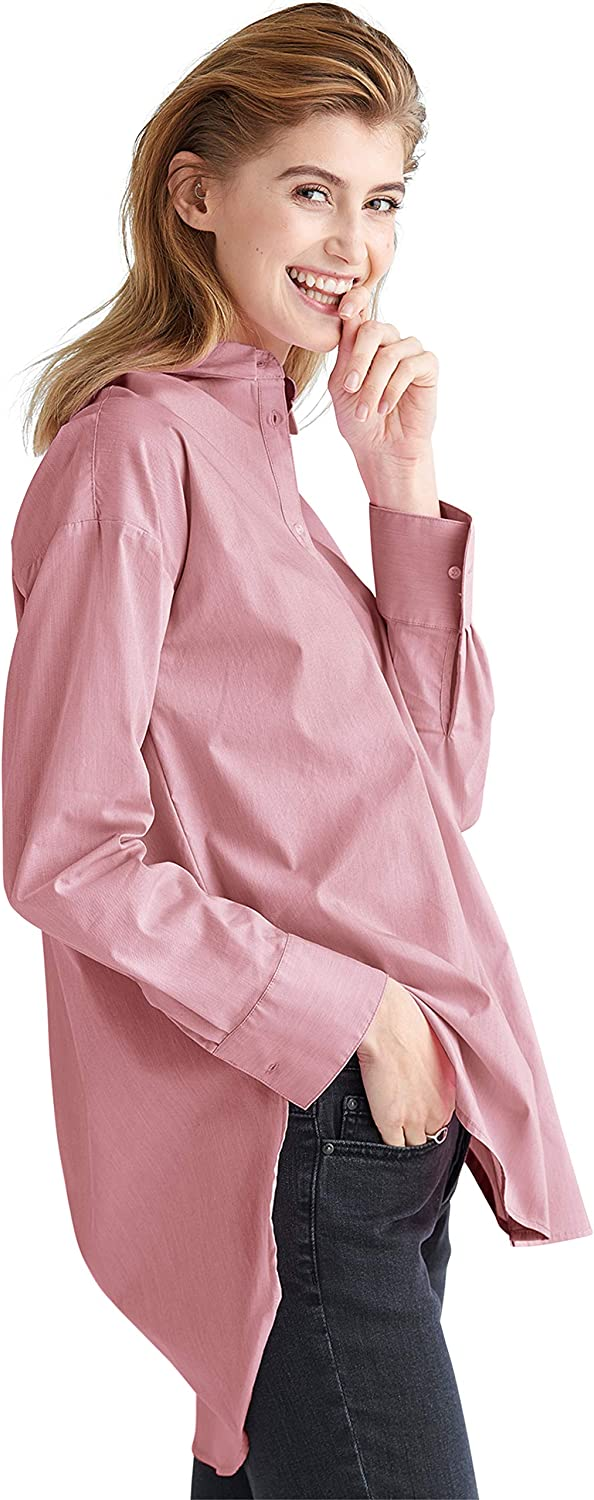 ellos Women's Plus Size Relaxed Button Front Tunic Shirt