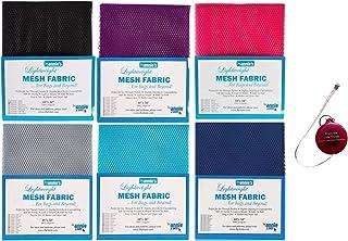 "ByAnnie's Mesh Fabric Lightweight Galaxy Bundle-Lipstick, Parrot Blue, Pewter, Tahiti, Black and Blast Off Blue 18"" x 54"" ..."