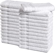 Haven Cotton 100% Premium Cotton Washcloth Towel Set - Pack of 24, 13 x 13 inches, 520 GSM, White