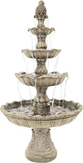 Sunnydaze Grand Courtyard Outdoor Water Fountain - Large 80-Inch Tall Tiered Fountain & Backyard Water Feature - Earth