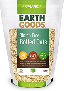 Earth Goods - Organic Rolled Oats Gluten Free Hand Selected , High Fiber and NON GMO Premium Scandinavian Flakes - 500G