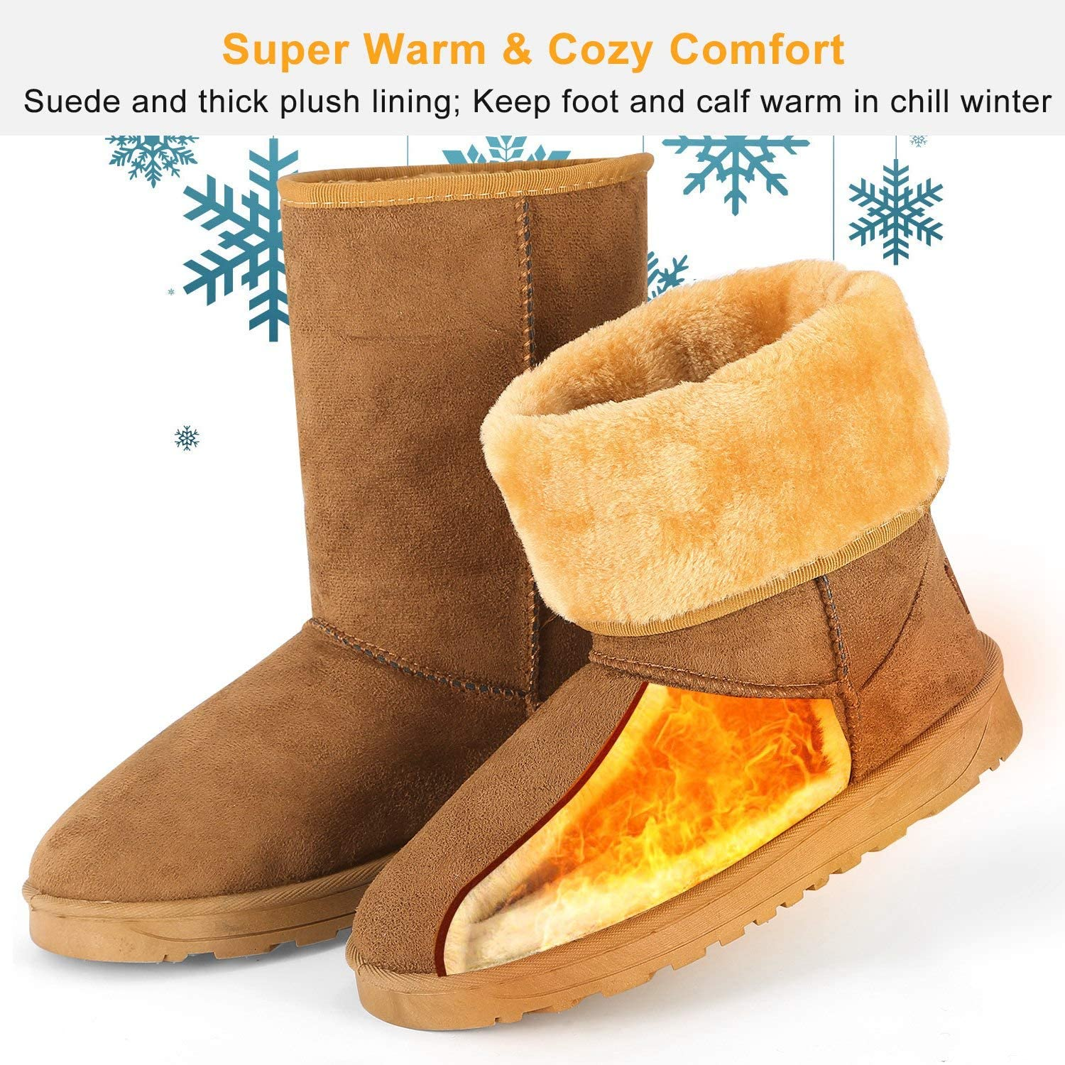 TeqHome Winter Boots for Women Classic Snow Boots Warm Mid-Calf Fur Boot
