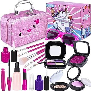 TEPSMIGO Pretend Makeup Kit for Girls, Kids Makeup Sets with Cosmetic Bag, Toddler Princess Pretend Play Toys, Birthday Pa...