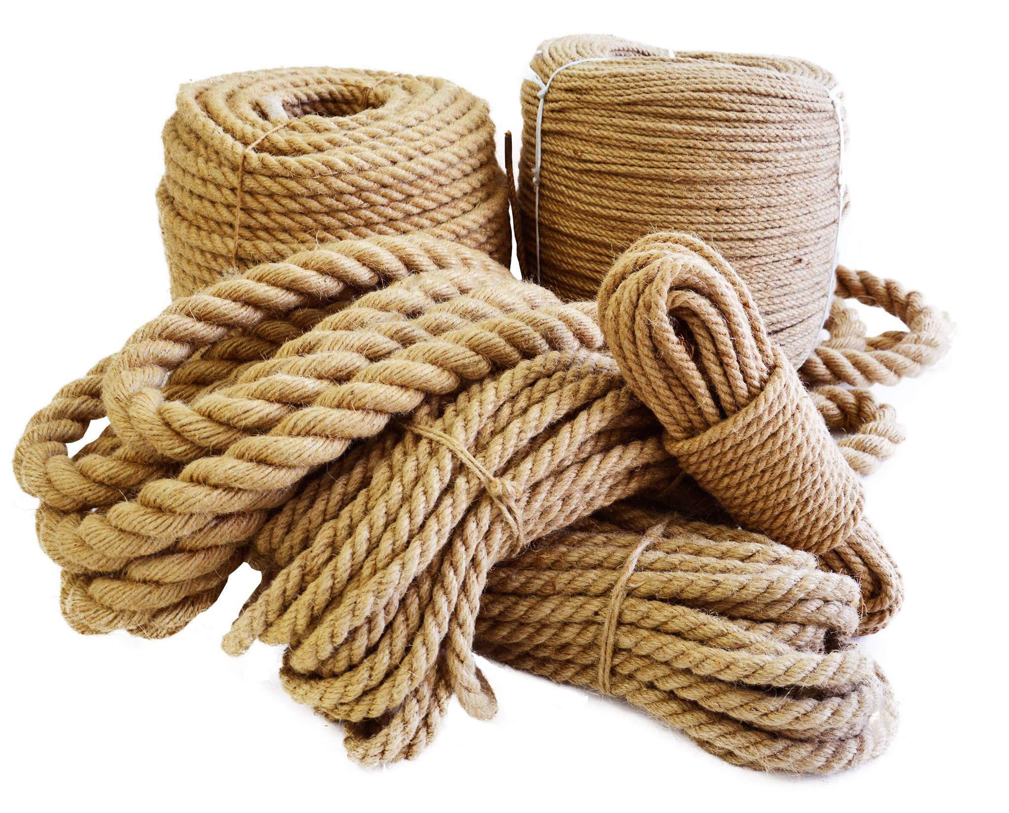 Roban Fashion® - Cuerda de yute 100% natural, 6 mm - 60 mm, cuerda de cáñamo natural, cuerda decorativa para jardín, pasamanos, mascotas, barcos, cuerda multiusos, cuerda de sisal: Amazon.es: Bricolaje y herramientas