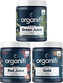 Organifi: Sunrise to Sunset Power Box (9.5 Oz. Each) - Superfood Powder - Green Juice, Red Juice, Golden Milk- 30 Day Supp...