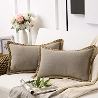Phantoscope Pack of 2 Farmhouse Decorative Throw Pillow Covers Burlap Linen Trimmed Tailored Edges Beige 12 x 20 inches, 30 x 50 cm