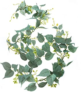 Artificial Greenery Garland, Fake Vine with Flowers, 6' Long Silk Faux Decorative Hanging Vine with Green Silver Leaves and White Flowers - Perfect for Table Wedding Party Home Garden Wall Decor