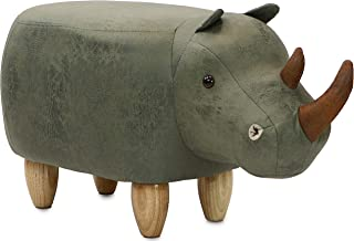 """Critter Sitters Green 14"""" Seat Height Animal Rhino-Faux Leather Look-Durable Legs-Furniture for Nursery, Bedroom, Playroom & Living Room-Décor Ottoman"""