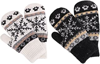 Women's Winter Fair Isle Knit Sherpa Lined Mittens - Set of 2 Pairs