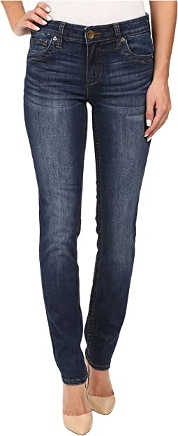 KUT from the Kloth Stevie Straight Leg Five-Pocket Jeans in Admiration w/ Dark Stone Base Wash