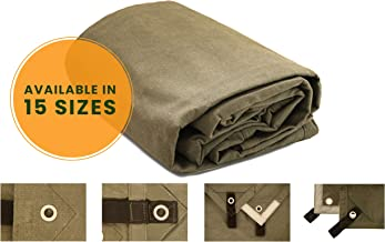 Heavy Duty Waterproof Canvas Tarp 18 oz. Mold & UV Resistant with Rustproof Grommets, Reinforced Edges, Waxed tarp for Industrial & Commercial use (Cut Size: 7x9 Finish Size: 6'6