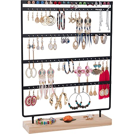 Earrings Organizer 5-Layer 100 Holes Ear Stud Holder Earring Display Stand Wooden Base Jewelry Organizer for Hanging earrings (black)