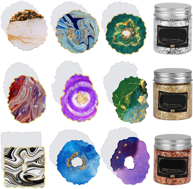 9 PCS Resin Coaster Moulds DIY Epox Mold New Translated popularity