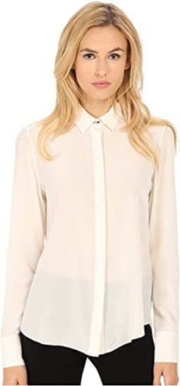 Crepe De Chine Silk Long Sleeve Top