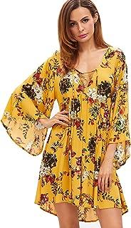 Women's Floral Print Front Cross Deep V-Neck Flare Sleeve Loose Short Mini Dress