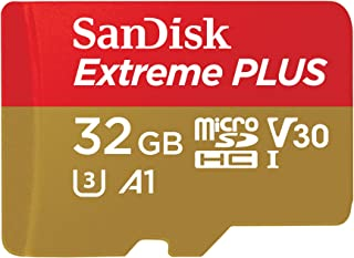 SanDisk SDSQXBG-032G-GN6MA Extreme Plus 32 GB microSDHC Memory Card, SD Adapter with A1 App Performance and Rescue Pro Del...