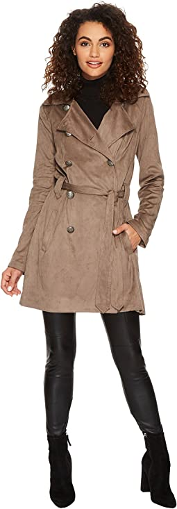 Baldwin Faux Suede Belted Trench Coat