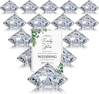 Boao 24 Pack Place Card Holders Harp-Clip Table Number Holder Diamond Acrylic Crystal Table Card Stands for Party Wedding Table Decorations (Clear)