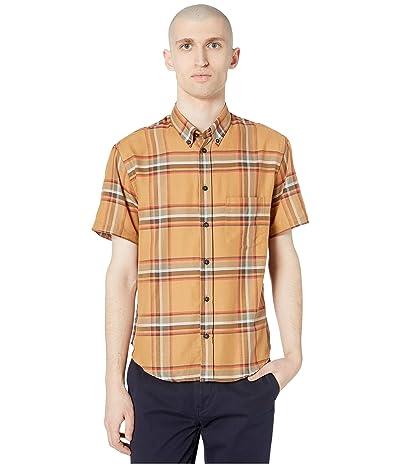 Billy Reid Kirby Short Sleeve Slim Shirt (Brown/Red) Men