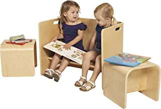 ECR4Kids Bentwood Multipurpose Kids Table and Chair Set, 3-Piece Adaptable Furniture Set, Kids' Learning Desk, Certified and Safe, No Assembly Required, Natural
