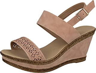 cfbaa8b90 Ladies Cushion Walk Wide E Fit Leather Lined Wedge Peep Toe Strappy Summer  Sandal Size 3