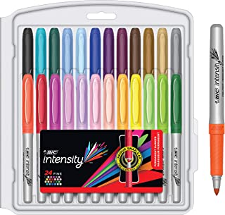 BIC Intensity Permanent Fine Point Marker - Pack of 24 Markers – Assorted Fashion Colours, Low Odour, Non Toxic, Non Slip ...