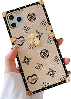 BANAILOA Compatible with iPhone 11 Pro Max Square Case, Retro Elegant PU Leather Soft TPU Silicone Gel Shockproof Protecti...