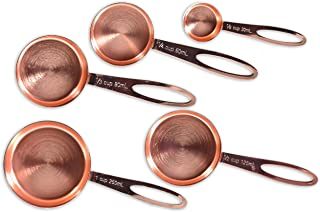 BonBon Measuring Cups 5 Pack Stainless Steel Copper Rose Gold 5 Piece SS Set