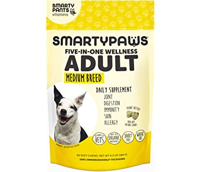 SmartyPants Vitamins Dog Supplement Chew - Glucosamine and Chondroitin, MSM for Joint Support, Fish Oil Omega 3, Probiotics, Organic Turmeric(60 Ct) (Adult (1-7 Years), Medium (26-55 lbs.))