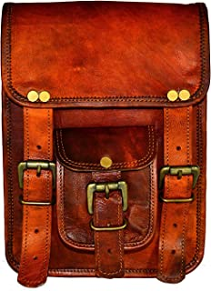 Leather Handmade Sling Bags Size 7 x 9 inch Brown for Girl & Boys - Man/Woman