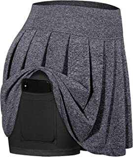 Cestyle Women Tennis Skirts Pleated Athletic Golf Skorts with Bulit-in Shorts