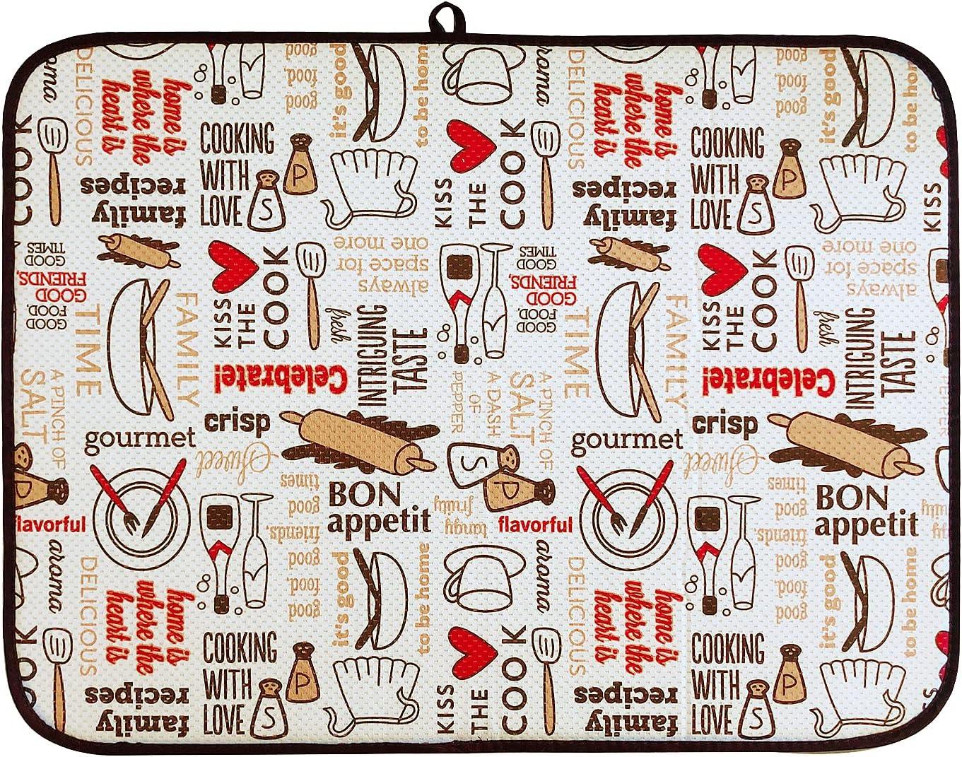 DRWhem Alfombrilla de secado para platos de microfibra, 45,7 x 60,9 cm, antideslizante, superabsorbente, reversible, con corazón, para cocina o fregadero