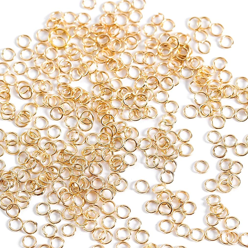 WUBOECE 1000 Pieces 4mm Open Jump Rings Jewelry DIY Findings for Choker Necklaces Bracelet Making, KC Gold