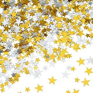 60 g Star Confetti Glitter Star Table Confetti Metallic Foil Stars for Party Wedding Festival Decorations (Gold Silver 60g, 10mm and 6mm)