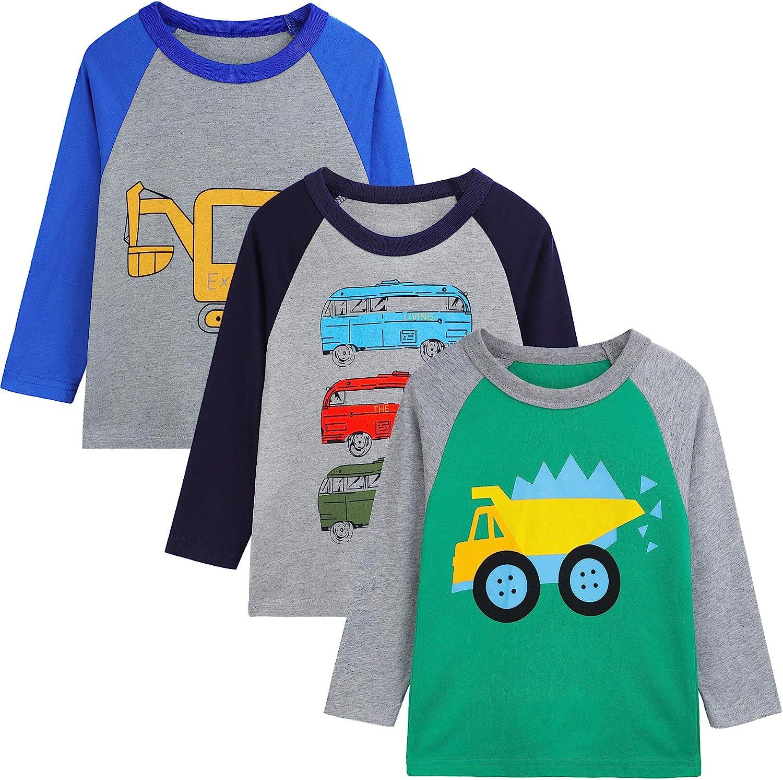 Auranso Kids Boys Girls Basic Long Sleeve Cotton Crew Neck T-Shirt Top Tees 2-7 Years