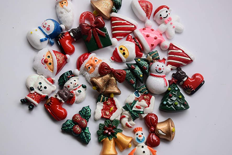 Amobester Christams Scrapbooking Embellishments Resin Flatback Slime Charms for DIY Crafts