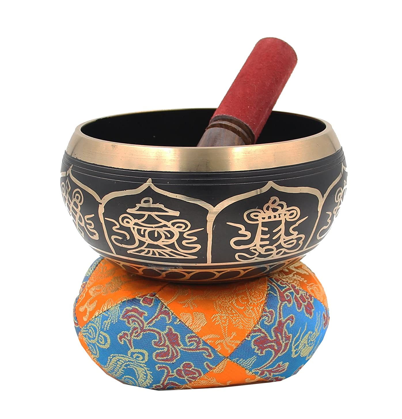 Tibetan Extra Large Heavy Meditation 8 Lucky Symbols Singing Bowl With Mallet and Silk Cushion