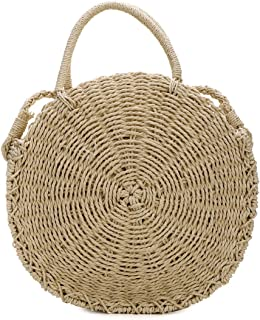 Straw Bags for Women,Hand-woven Straw Large Bag Round Handle Ring Tote Retro Summer Beach Rattan bag