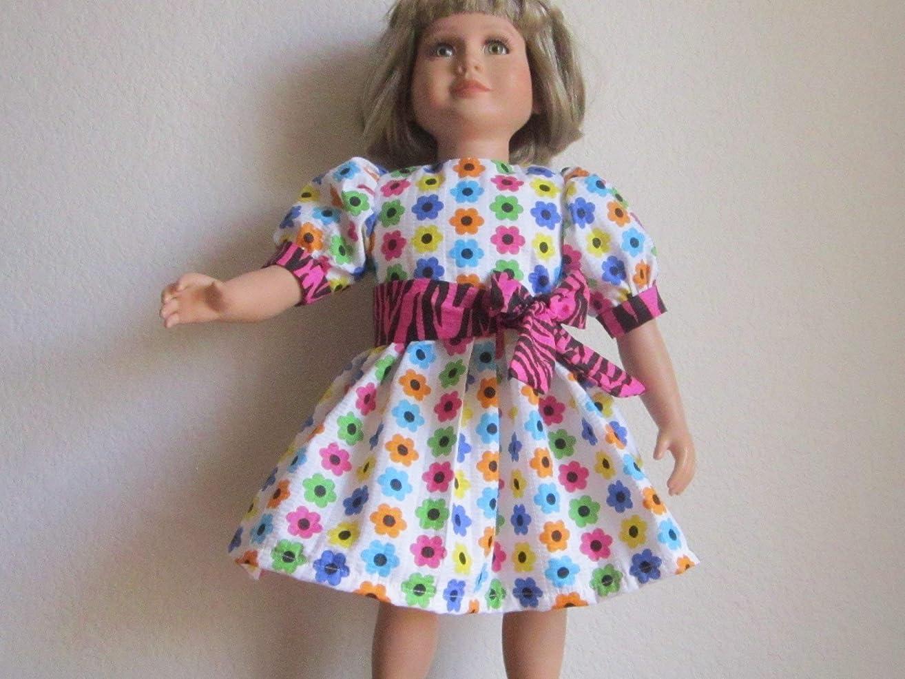 Bright & Colorful Flower Seersucker Dress + Tie Belt fits My Twinn