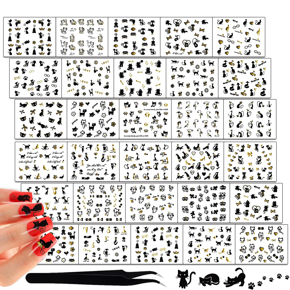 SILPECWEE 30 Sheets 3D Adhesive Stickers Max 58% OFF Tips Nail Black New item Golden