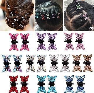 Elesa Miracle 20pcs Crystal Rhinestone Mini Butterfly Hair Claw Clip Baby Toddler Girl Hair Bangs Pin Kids Hair Accessorie...